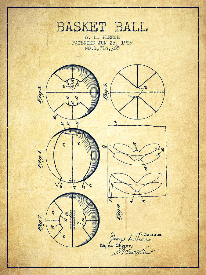 Basketball Digital Art - 1929 Basket Ball Patent - Vintage by Aged Pixel