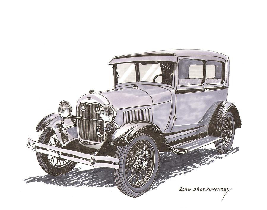 Ford model a 2 door sedan painting by jack pumphrey for 1929 model a 2 door sedan