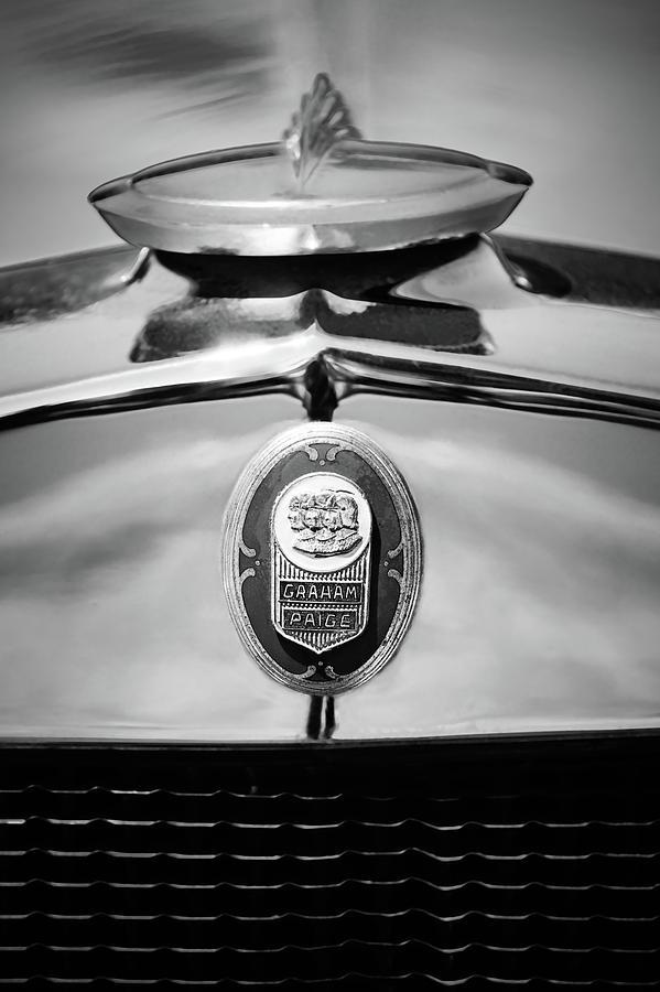 Bw Photograph - 1929 Graham-paige Sport Roadster Emblem -0810bw by Jill Reger