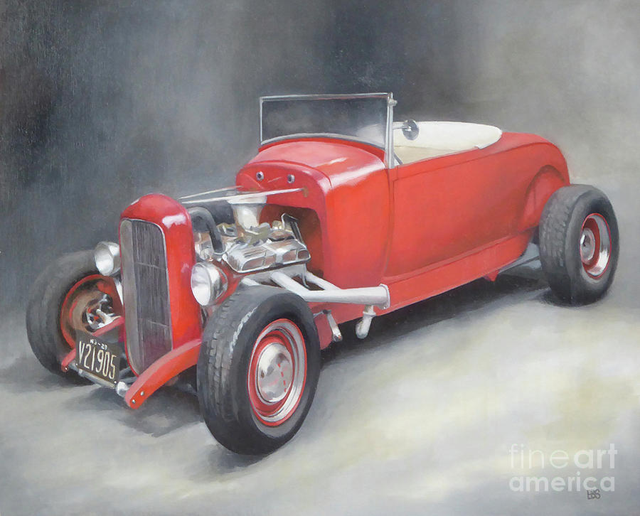 Roadster Painting - 1929 Roadster Hotrod by Elaine Brady Smith