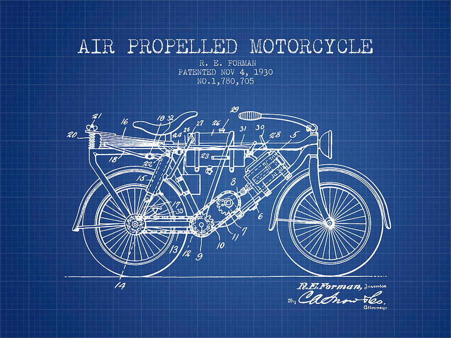 1930 air propelled motorcycle patent blueprint digital art by aged motorbike digital art 1930 air propelled motorcycle patent blueprint by aged pixel malvernweather Image collections