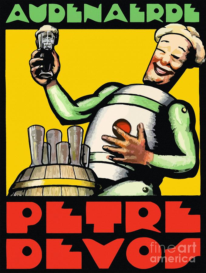 1930 Audenaerde Petre Devos Beer Advert Retro Style Painting