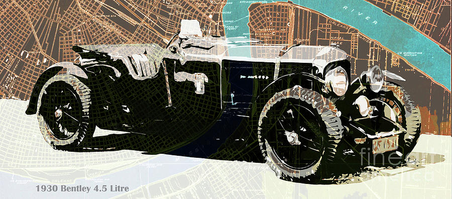 1930 Drawing - 1930 Bentley 4.5 Litre Over New Orleans Old Map by Drawspots Illustrations