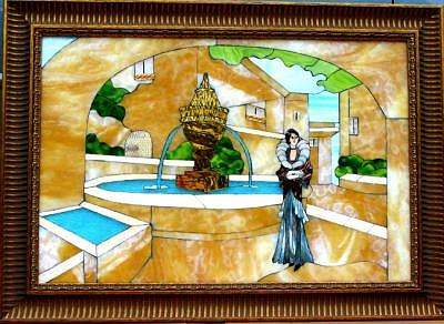 1930 By The Fountain Glass Art by Bobbie Matus