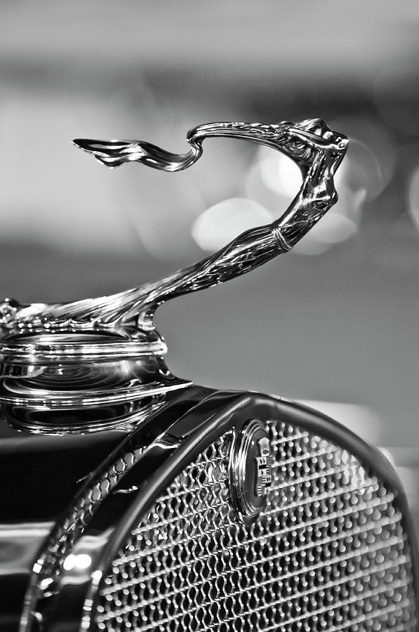 Black And White Photograph - 1930 Cadillac Roadster Hood Ornament 2 by Jill Reger