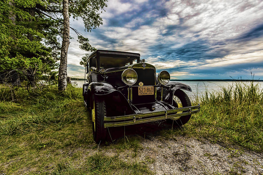 Higgins Lake Photograph - 1930 Chevy On The Shore Of Higgins Lake by Joe Holley