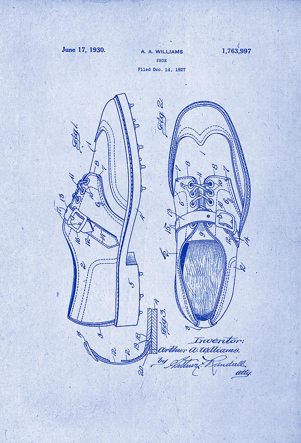 1930 golf shoes patent drawing blueprint inverse drawing by patently patent drawing drawing 1930 golf shoes patent drawing blueprint inverse by patently artful malvernweather