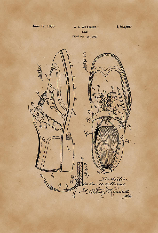1930 Golf Shoes Patent Drawing Vintage