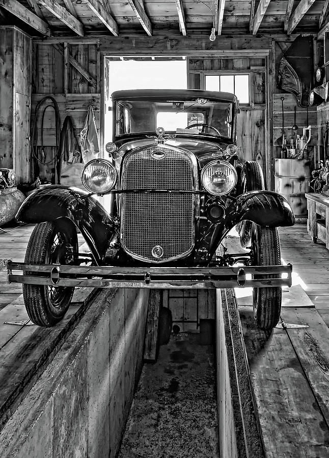 Oil Photograph - 1930 Model T Ford Monochrome by Steve Harrington