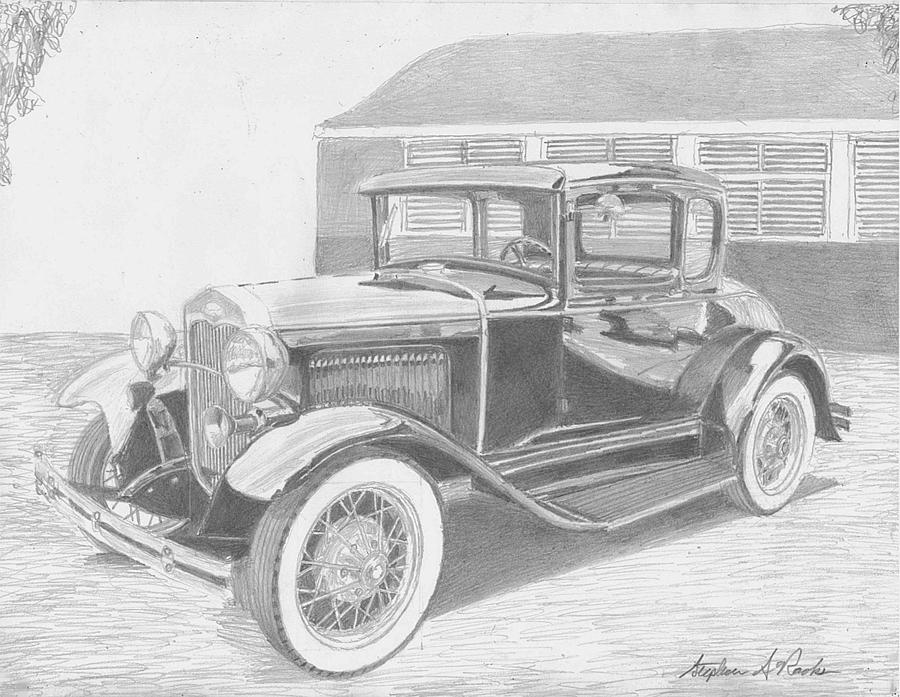 1931 Ford A Model Coupe Classic Car Art Print Drawing by Stephen Rooks