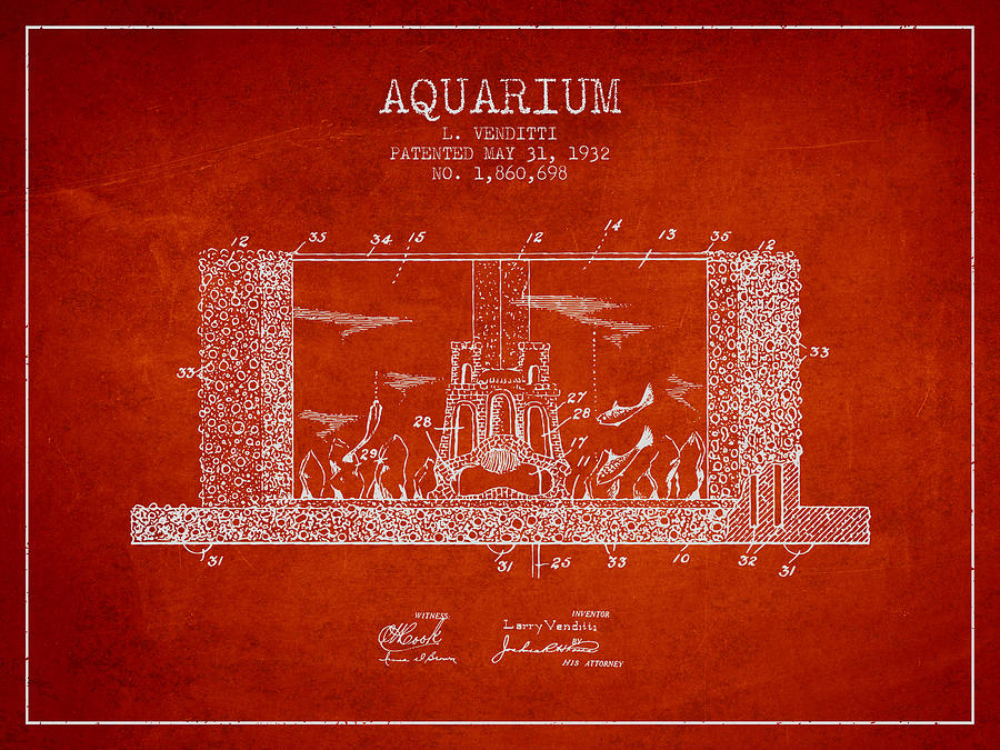 Fish Bowl Digital Art - 1932 Aquarium Patent - Red by Aged Pixel