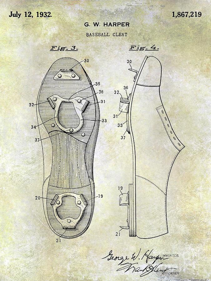 Baseball Patent Photograph - 1932 Baseball Cleat Patent by Jon Neidert