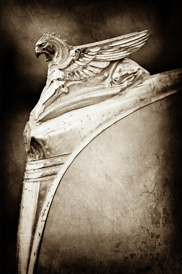 Classic Cars Photograph - 1932 Essex Griffin Hood Ornament -0478s by Jill Reger