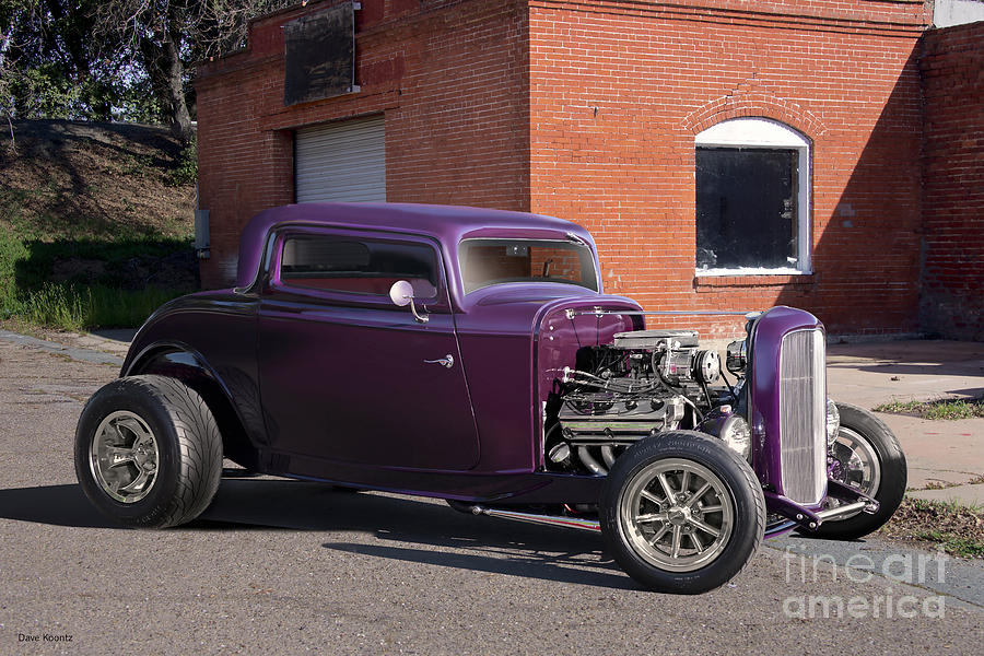 Auto Photograph - 1932 Ford grape Soda Coupe by Dave Koontz