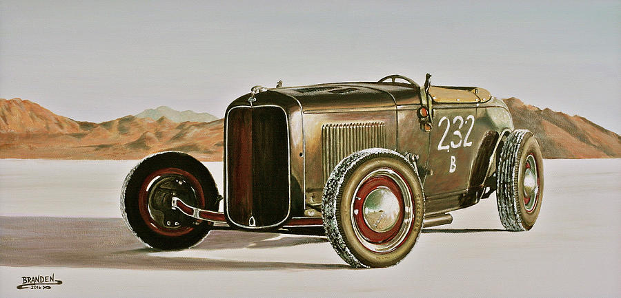 Bonneville Salt Flats Painting - 1932 Ford Rolling Bones Roadster by Branden Hochstetler