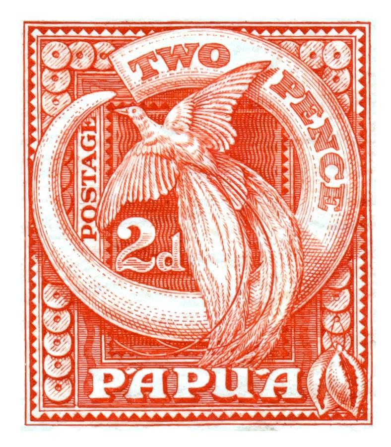 Papua Digital Art - 1932 Papua New Guinea Bird Of Paradise Postage Stamp by Retro Graphics