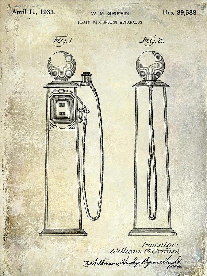 Gas Pump Patent Photograph - 1933 Gas Pump Patent by Jon Neidert