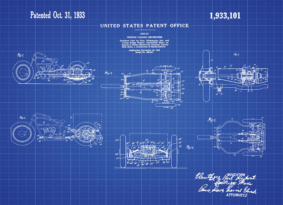 1933 indian motor tricycle patent blueprint digital art by bill cannon 1933 digital art 1933 indian motor tricycle patent blueprint by bill cannon malvernweather Image collections
