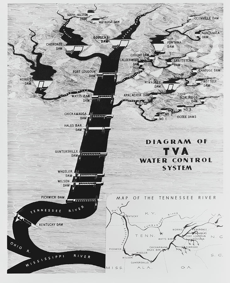 1933 Tennessee Valley Authority Map Photograph by Daniel Hagerman