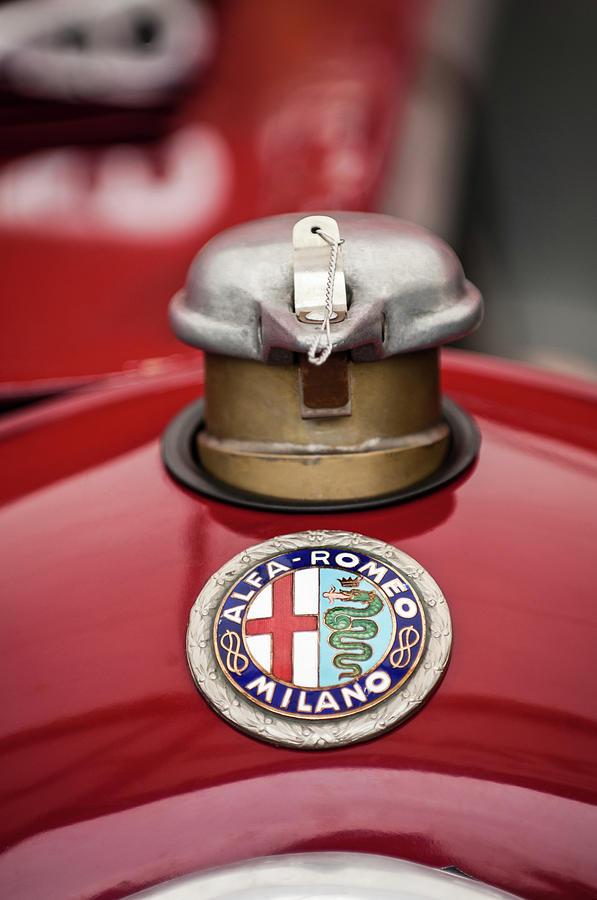 Alfa Photograph - 1934 Alfa Romeo Tipo B Hood Emblem by Jill Reger