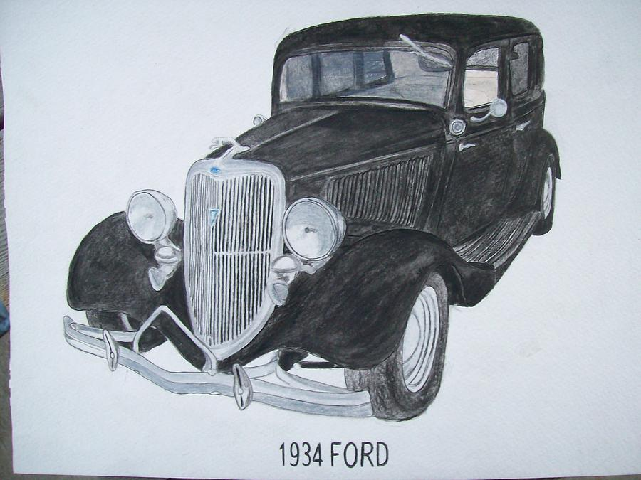 1934 Painting - 1934 Ford Watercolor Portrait U Provide Picture By Pigatopia by Shannon Ivins