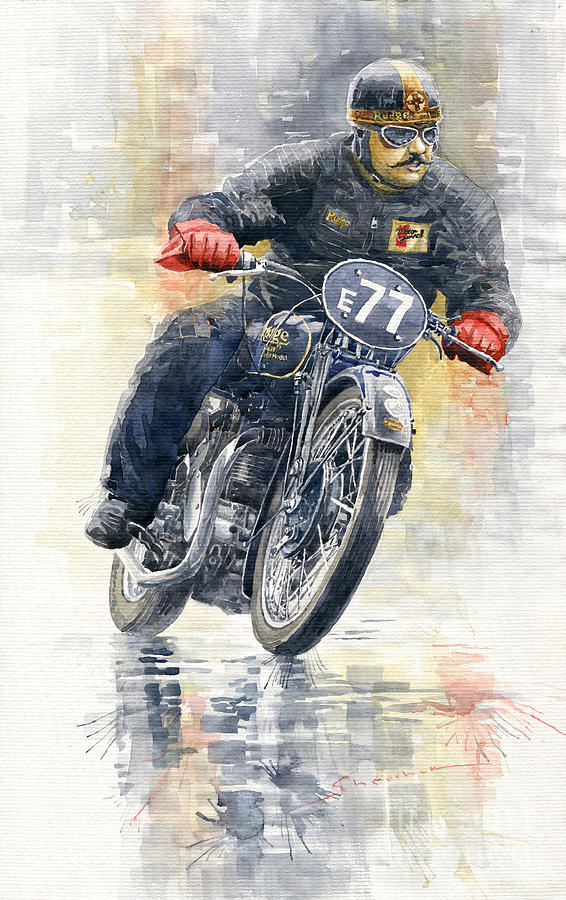 Watercolor Painting - 1934 Rudge Ulster Grand Prix Model  by Yuriy Shevchuk