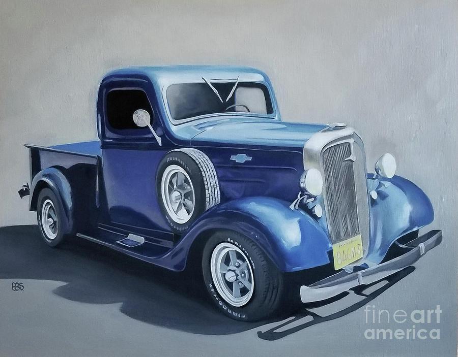 Chevy Painting - 1935 Chevy Truck by Elaine Brady Smth by Elaine Brady Smith