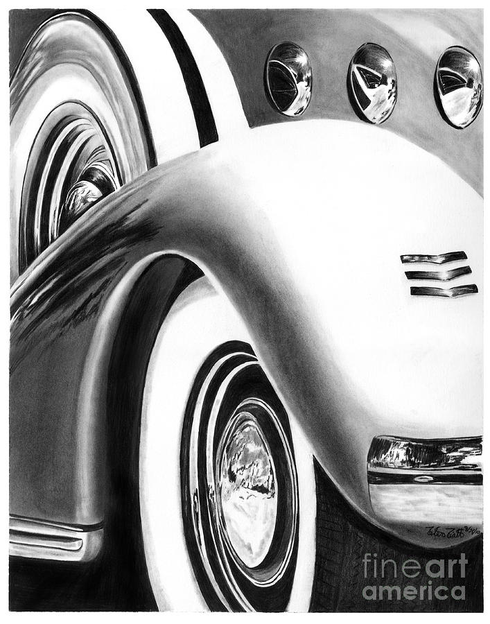 Hot Rod Drawing - 1935 Lasalle Abstract by Peter Piatt