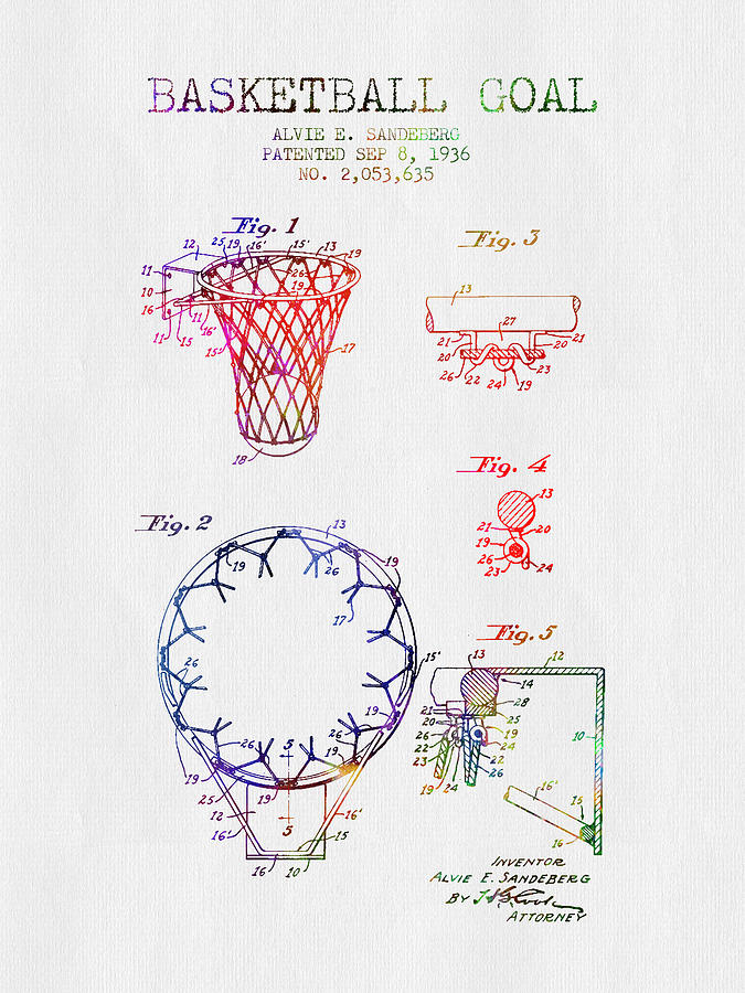 Basketball Digital Art - 1936 Basketball Goal Patent - Color by Aged Pixel