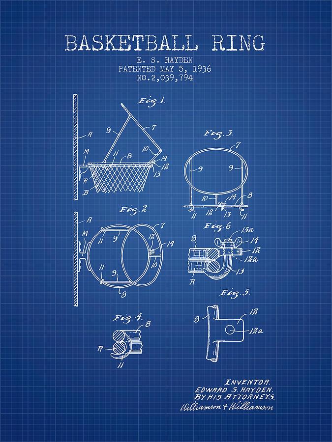 1936 basketball ring patent blueprint digital art by aged pixel basketball digital art 1936 basketball ring patent blueprint by aged pixel malvernweather Choice Image
