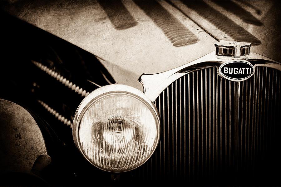 Classic Cars Photograph - 1936 Bugatti Type 57s Corsica Tourer Grille Emblem -1673s by Jill Reger