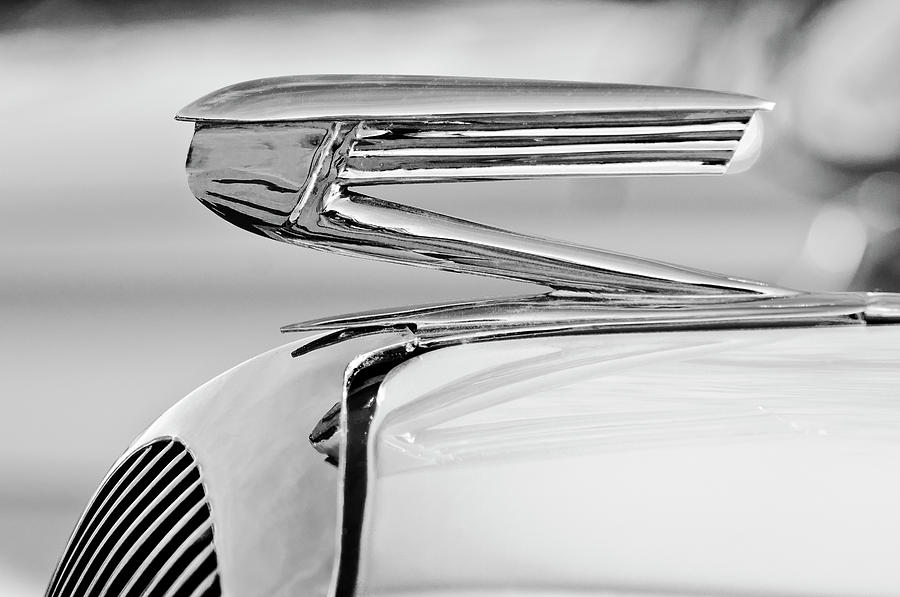 Black And White Photograph - 1936 Buick 40 Series Hood Ornament 2 by Jill Reger