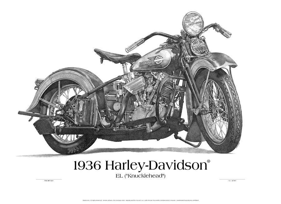 1936 el knucklehead coartist print drawingdennis jackson