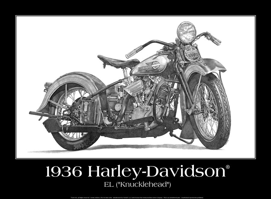 1936 El Knucklehead Drawing by Dennis Jackson