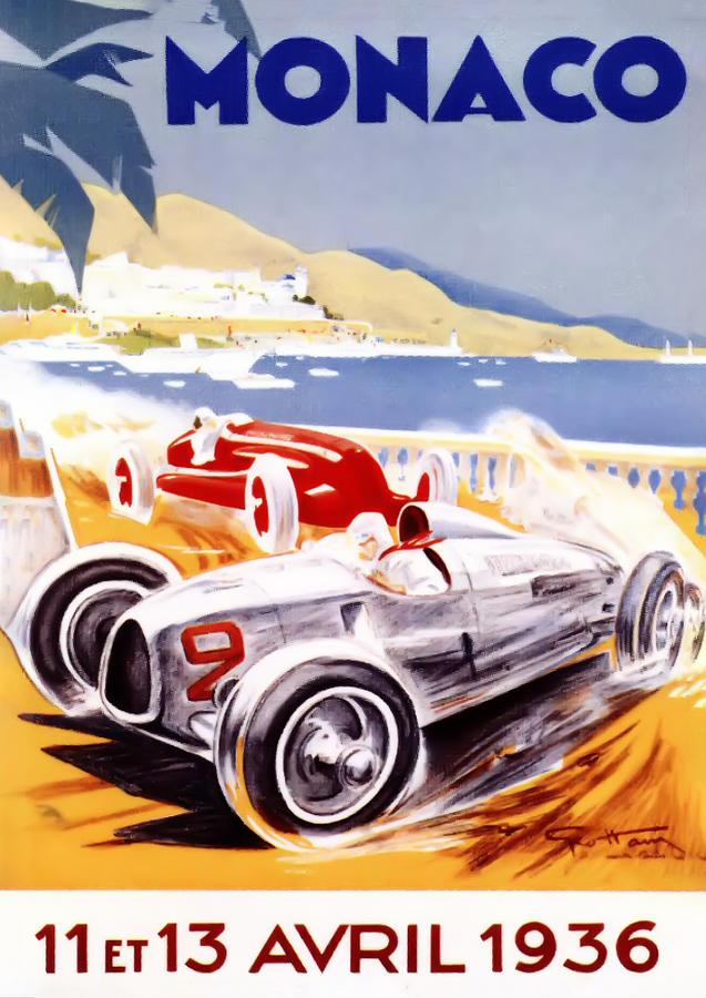 F1 Digital Art - 1936 F1 Monaco Grand Prix  by Georgia Fowler