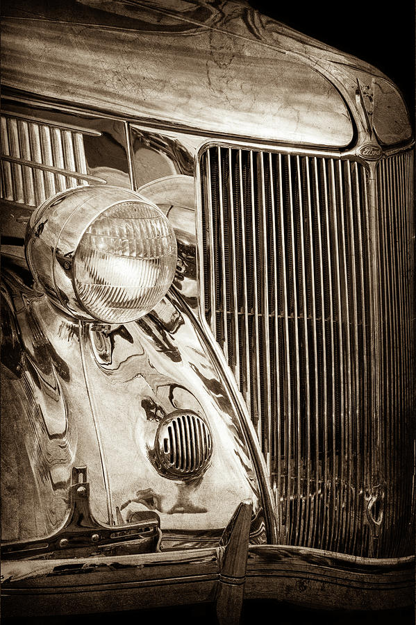 Transportation Photograph - 1936 Ford Stainless Steel Grille -0376s by Jill Reger