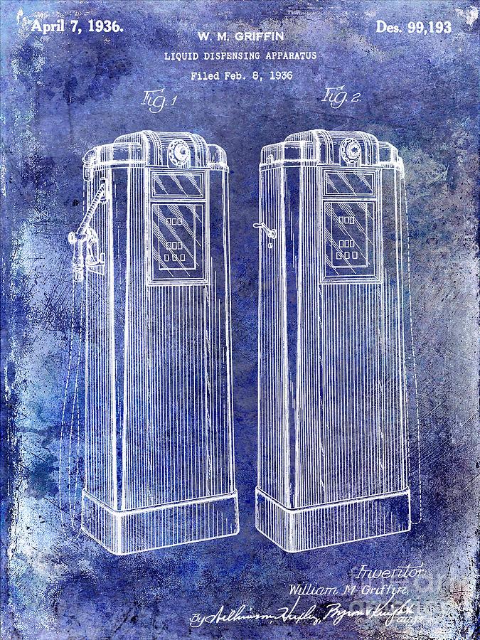 Gas Pump Patent Photograph - 1936 Gas Pump Patent Blue by Jon Neidert