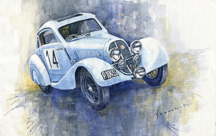 Watercolor Painting - 1937 Aero 750 Sport Coupe by Yuriy Shevchuk