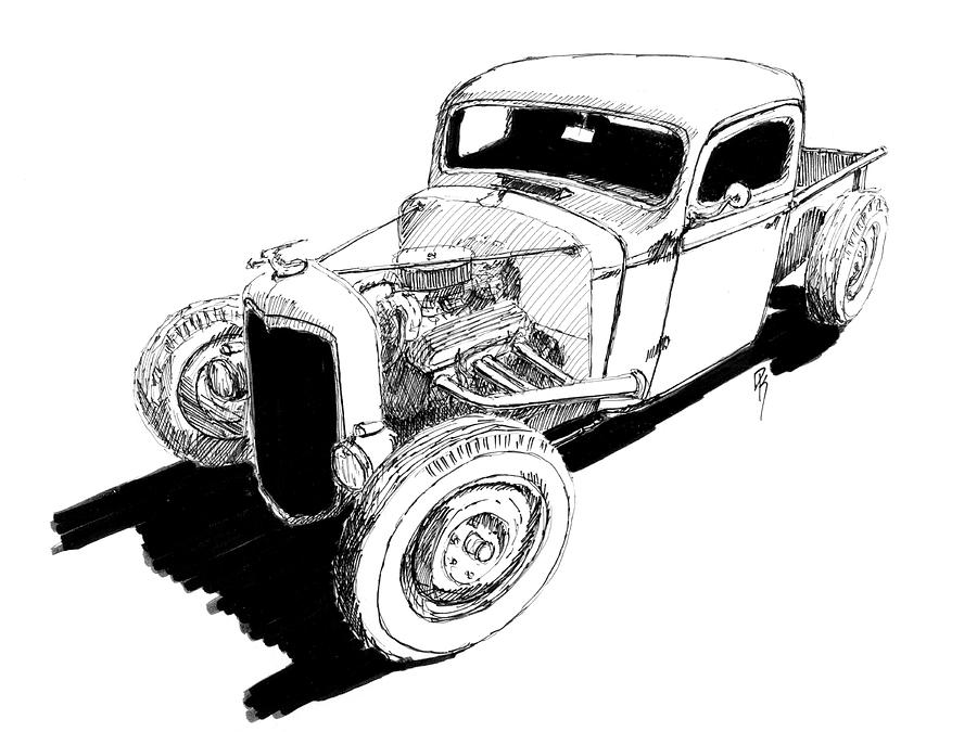 It's just an image of Striking Drawing Of Hot Rods