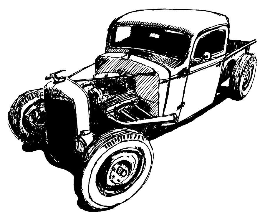 Hot Rod Digital Art - 1937 Chevy Bobber Truck Hot Rod Tee by David King