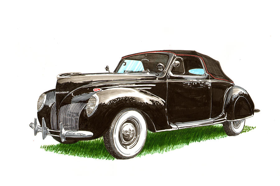 Black Convertibles Painting - 1937 Lincoln Zephyer by Jack Pumphrey