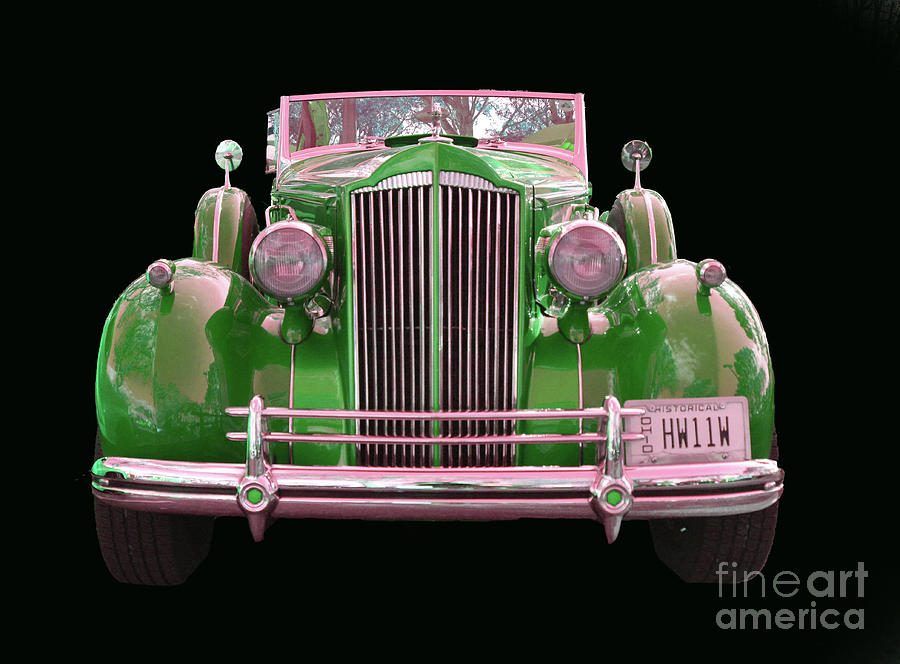 1937 Packard Convertible Coupe Roaster With Rumble Seat Green Front View by  Christine Dekkers