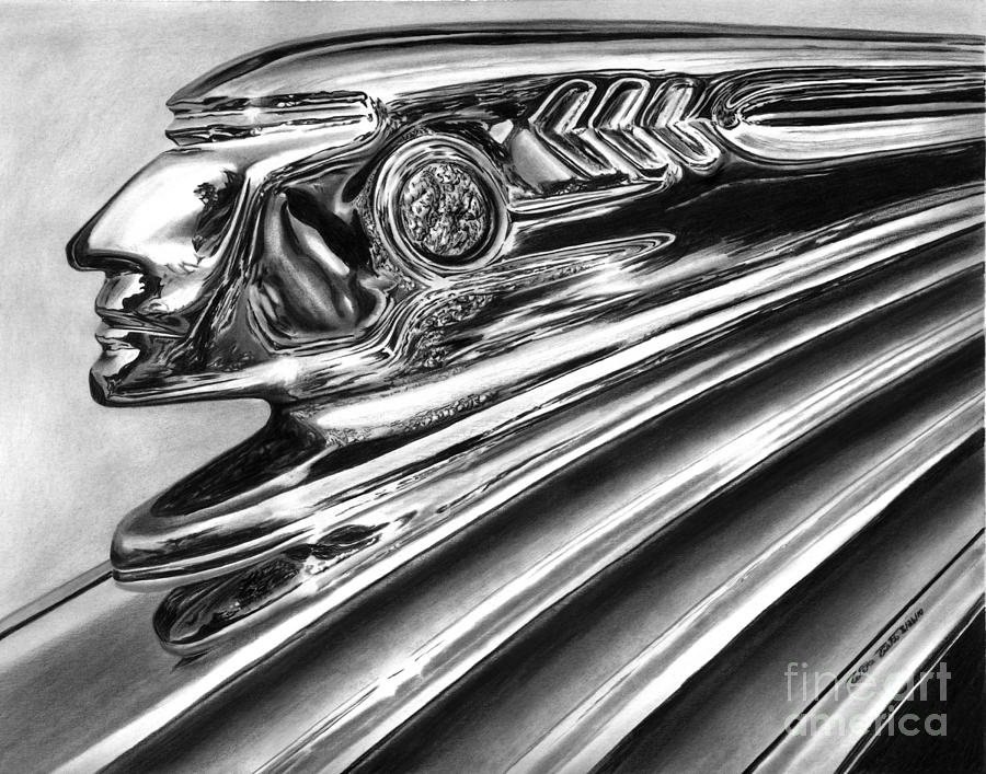 Transportation Drawing - 1937 Pontiac Chieftain Abstract by Peter Piatt