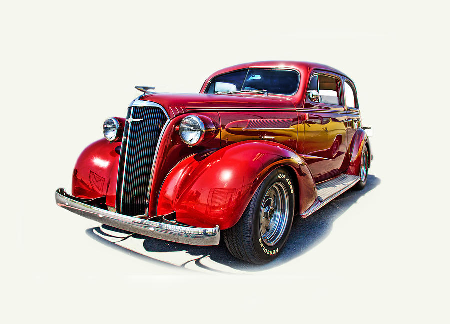 Race Photograph - 1937 Red Chevy Master Deluxe by Mamie Thornbrue