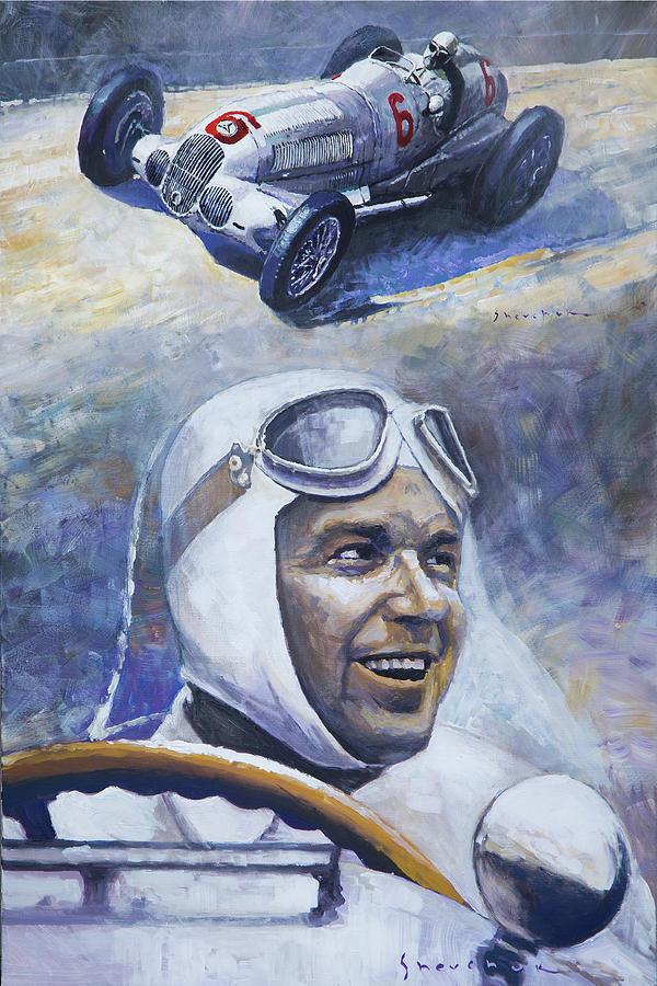 Oil On Canvas Painting - 1937 Rudolf Caracciola Mb W125 by Yuriy Shevchuk