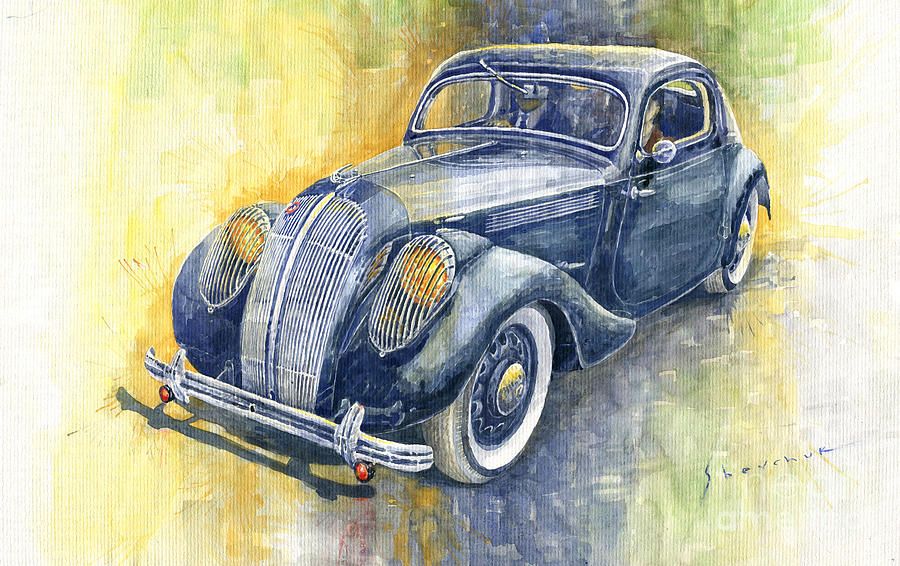 Automotive Painting - 1937 Skoda Popular Sport Monte Carlo by Yuriy Shevchuk