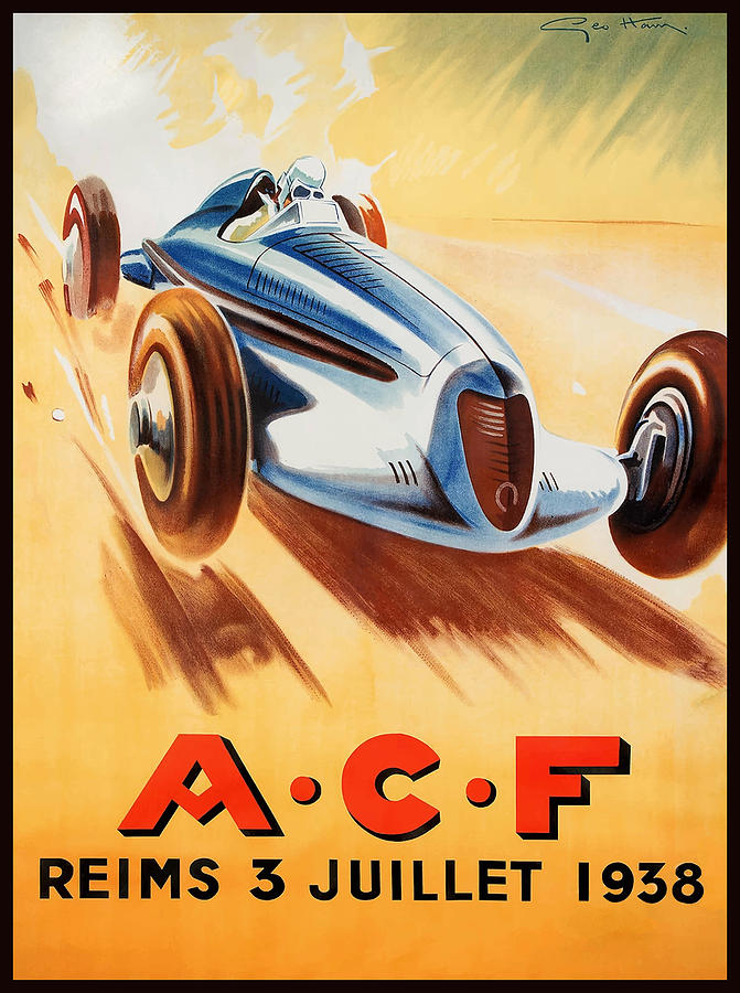 1938 Acf Grand Prix Reims France Automobile Race Digital Art by ...
