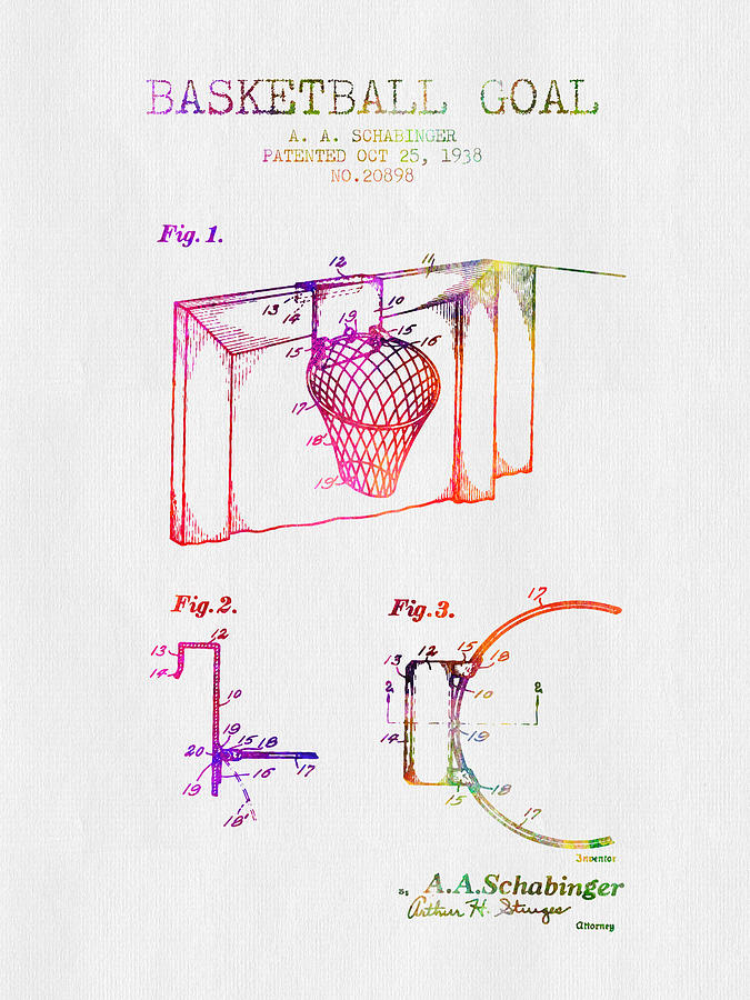 Basketball Digital Art - 1938 Basketball Goal Patent - Color by Aged Pixel