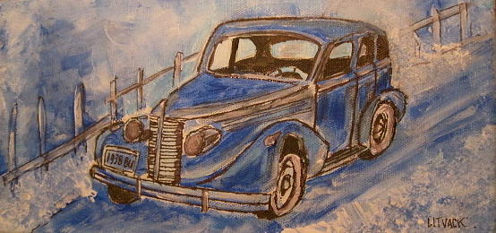 1938 Buick Painting - 1938 Blue Buick by Michael Litvack