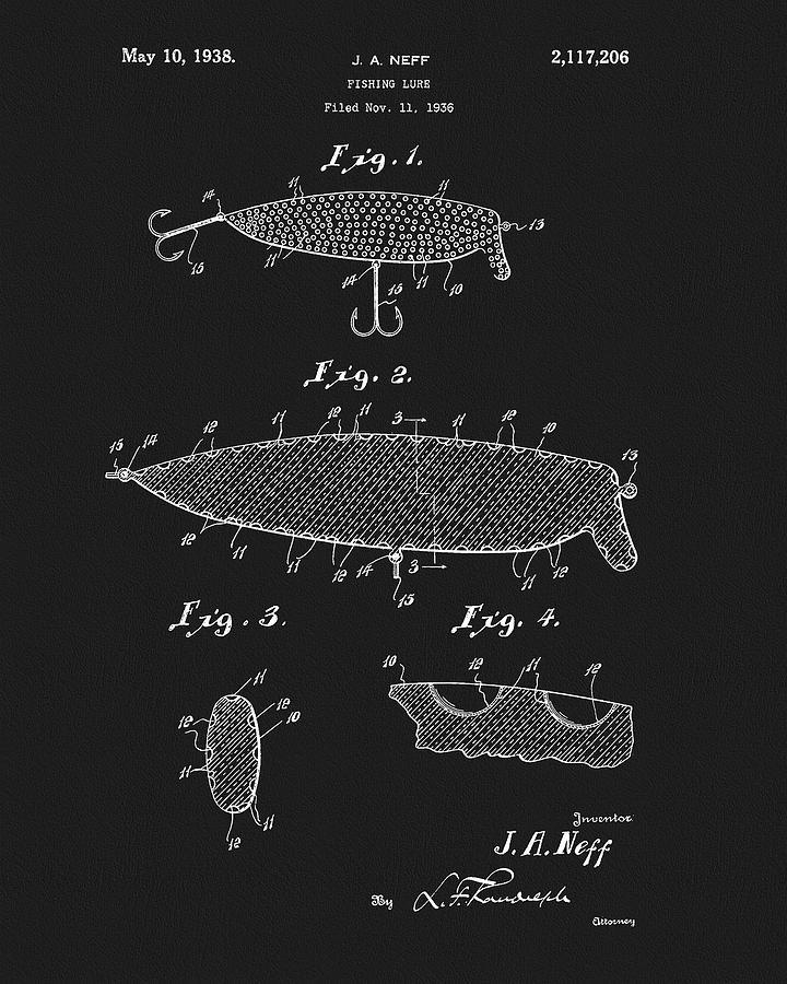 1938 Fish Lure Patent Drawing